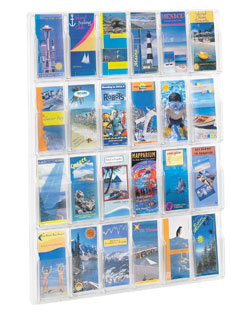 24 brochure pocket clear plastic wall mount brochure display - 5601CL