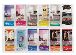12 brochure pockets clear plastic wall mount brochure display - 5604CL